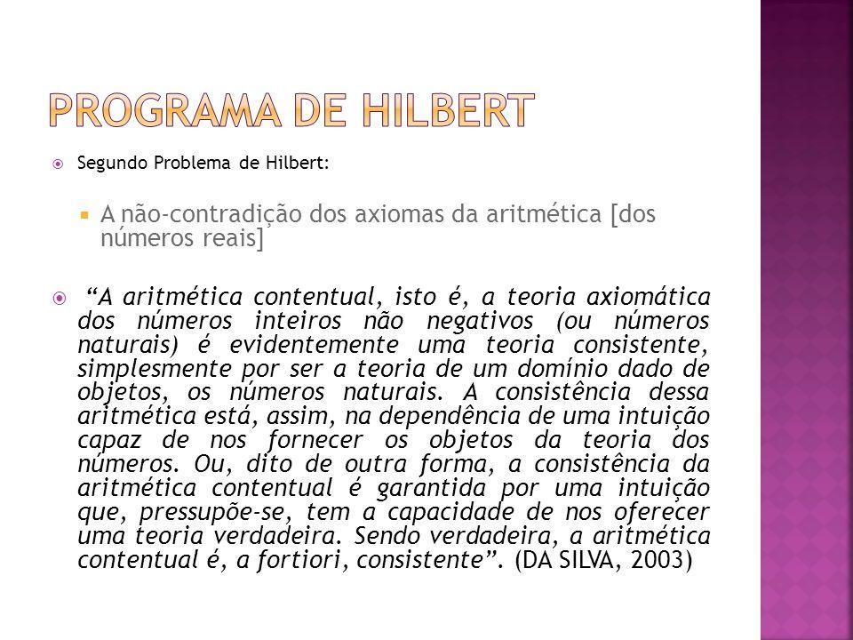 Programa de Hilbert Segundo Problema de Hilbert: A não-contradição dos axiomas da aritmética [dos números reais]
